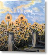 Sunflowers At Rest Stop Near Great Sand Dunes Metal Print