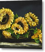 Sunflowers From The Garden Metal Print