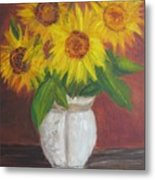 Sunflowers In A Clay Pot Metal Print