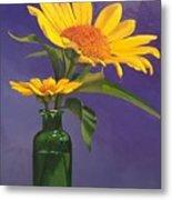 Sunflowers In A Green Bottle Metal Print