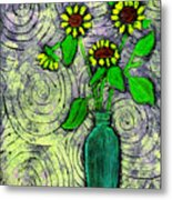 Sunflowers In A Green Vase Metal Print