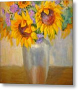 Sunflowers In A Silver Vase Metal Print