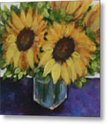 Sunflowers In A Square Vase Metal Print