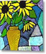 Sunflowers In A Vase Metal Print