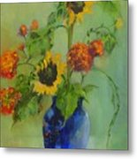 Sunflowers In Blue          Copyrighted Metal Print