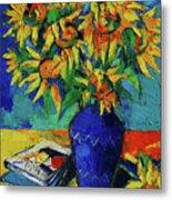 Sunflowers In Blue Vase Metal Print