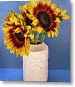 Sunflowers In Circle Vase Tournesols Metal Print