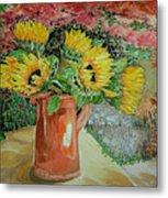 Sunflowers In Copper Metal Print