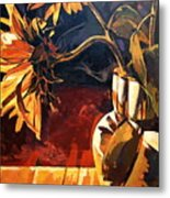 Sunflowers in Italian Vase Metal Print