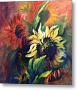 Sunflowers In Red Metal Print
