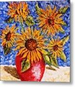 Sunflowers In Red Vase. Metal Print