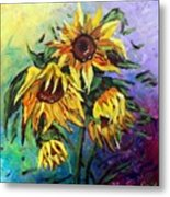 Sunflowers In The Rain Metal Print