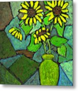 Sunflowers In Vase Green Metal Print