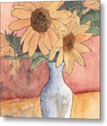Sunflowers In Vase Sketch Metal Print