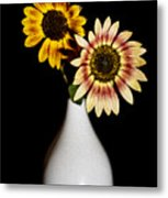 Sunflowers On Black Background And In White Vase Metal Print