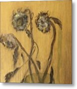 Sunflowers On Gold Metal Print
