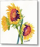 Sunflowers On White Metal Print