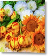 Sunflowers Tulips Metal Print