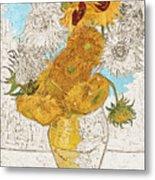 Sunflowers Van Gogh Digital Art Metal Print