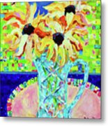 Sunflowers With Trellis Collage Metal Print