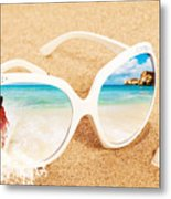 Sunglasses In The Sand Metal Print