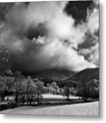 Sunlight Clouds And Snow In Black And White Metal Print
