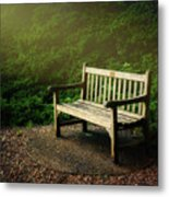 Sunlight On Park Bench Metal Print