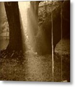 Sunlight On Swing - Sepia Metal Print