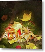 Sunlit Autumn Leaves On Dark Moss Ap Metal Print