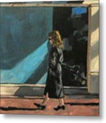 Sunlit City Stroll Metal Print