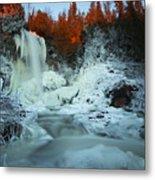 Sunlit Edge Of The Moraine Falls Metal Print
