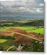 Sunlit Farms And Fields Below Arcos De La Frontera Andalusia Spa Metal Print