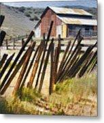 Sunlit Fence Metal Print