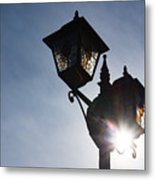 Sunlit Jewels - Stained Glass Lamps And Sunburst Right Metal Print