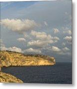 Sunlit Limestone Cliffs In Malta Metal Print