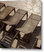 Sunning Chairs Metal Print