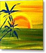 Sunny Blue Palms Metal Print