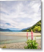 Sunny Day At Kinloch Wharf In New Zealand Metal Print
