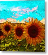 Sunny Faces- Sunflower Art Metal Print