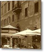 Sunny Italian Cafe - Sepia Metal Print