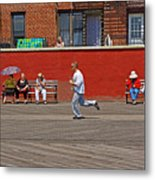 Sunny Morning On A Boardwalk In Brighton Beach  Metal Print