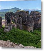 Sunny Panorama Of Greek Meteora Metal Print