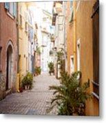Sunny Street In Villefranche-sur-mer Metal Print