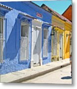 Sunny Street With Colored Houses - Cartagena-colombia Metal Print