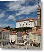 Sunny Tartini Square In Piran Slovenia With Government Building, Metal Print