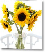 Sunny Vase Of Sunflowers Metal Print