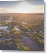 Sunraise Morning Summer Time Lake And Green Forest, In Poland  Metal Print