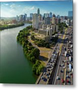 Sunrays Paint The Austin Skyline As Rush Hour Traffic Picks Up On I-35 Metal Print