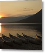 Sunrise And Canoes On Adams Lake Metal Print