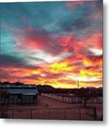 Sunrise And Horse Barn Metal Print